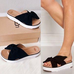 New UGG Joan II Leather Bow Platform Slide Sandals